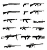 Weapon and gun set collection icons black silhouett | Stock Vector Graphics