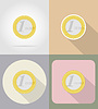 one euro coin flat icons
