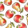 Nahtlose Muster mit Äpfeln und Birnen