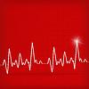 White Heart Beats Cardiogram na czerwonym tle | Stock Vector Graphics