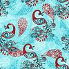 Nahtloses Winter-Muster mit Pfauen und Schneeflocken