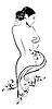 Handskizze der schönen Mädchen mit Blumen