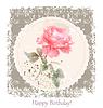 Weinlese-Geburtstags-Grußkarte mit Aquarell Rose