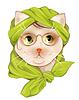 Porträt hipster Katze mit Brille und Seidenschal