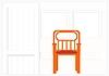 White, gewellte Wand mit einem Stuhl