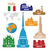 Włochy. Sylwetki Atrakcje Turystyczne | Stock Vector Graphics