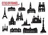 Silhouetten von Gebäuden in Städten in Frankreich | Stock Vektrografik