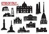 Silhouetten von Gebäuden in italienischen Städten