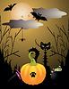 halloween Viecher mit Katze, Mond, Fledermaus, Kürbis