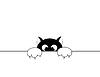 schwarze smal Katze hat Angst vor Strafe