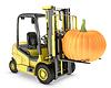 Żółty wózek widłowy podnosi pomarańczowy pupmkin | Stock Illustration