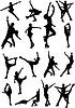 Zestaw rysunek sylwetki skating | Stock Vector Graphics