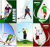 Sechs sport Plakate. Fußball, Eishockey, Tennis,
