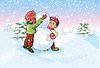 Junge und Mädchen machen Schneemann