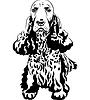 Schwarzweiße Skizze des Hundes English Cocker Spaniel