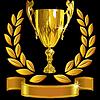 Zwycięzca złoty puchar, wieniec laurowy i wstążką | Stock Vector Graphics