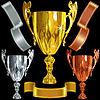 Gewann Gold, Silber, Bronze Tassen und ribbbons | Stock Vektrografik