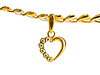Gold heart-shaped pendant on chain of white and | Stock Foto