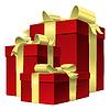 Set roten Geschenk-Box mit Gold Schleife