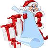 Дед Мороз со свитком и новогодними подарками | Векторный клипарт