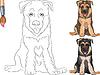 ID 3497696 | Kolorowanka z uśmiechem psa owczarka niemieckiego szczeniaka | Klipart wektorowy | KLIPARTO