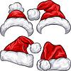 Набор красных новогодних шапок | Векторный клипарт