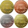 Amerikanisches Geld Goldmünze einen Cent, penny