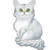 귀여운 블루 티파니 고양이 앉아 | Stock Vector Graphics