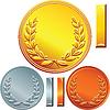 Satz von Gold-, Silber-und Bronzemünzen
