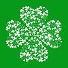 Зеленая открытка с клевером трилистник | Векторный клипарт