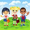 lächelnden Schüler verschiedener Nationalitäten