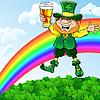 St. Patrick `s Day leprechaun mit Glas Bier