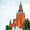 sketch of Moscow Kremlin, Russia
