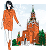 Skizze schöne Mode Mädchen in Moskau