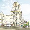 Farbe Skizze der Innenstadt