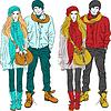 Modische stilvolle Kerl und Mädchen in warmer Kleidung