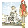 Skizze stilvolle Mädchen in Stadtzentrum