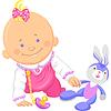 cute baby girl spielt mit Spielzeug Kaninchen