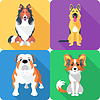 Set Hundekopf-Symbol flache Bauform