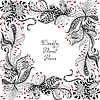 Rot, Schwarz und Weiß Blumenmuster | Stock Illustration