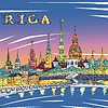 Altstadt und den Fluss Daugava in der Nacht, Riga, Lettland