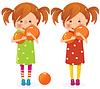 Zwei Mädchen-Zwillinge mit Kugeln