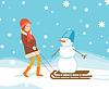 Mädchen und Schneemann auf Schlitten