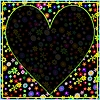 Colorful Flower Frame mit Deep Black Heart