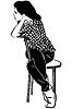 Skizze Mädchen Brünette sitzt auf dem Stuhl
