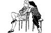 Skizze zwei junge Mädchen sitzen auf Stühlen