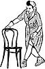 Skizze Reiniger in Gummihandschuhe mit Stuhl