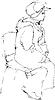 Skizze Frau in Cap sitzt auf dem Stuhl