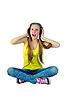 ID 3667959 | Dziewczyna w słuchawkach słucha muzyki i śmiechu | Foto stockowe wysokiej rozdzielczości | KLIPARTO