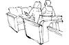 Skizze von Mann und Frau auf der Couch sitzen im Kaffeehaus